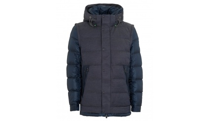 HUGO BOSS GREEN Mens Jiandro Coat, Navy Blue Puffa Jacket
